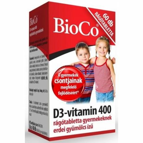 BioCo D3-VITAMIN 400 RÁGÓTABLETTA GYEREKEKNEK 60 DB