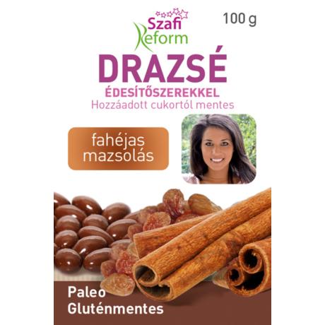 Szafi Reform Fahéjas mazsolás drazsé kakaós bevonattal, édesítőszerekkel (gluténmentes, vegán, paleo) 100g